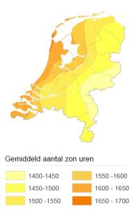 Aantal zonuren in Nederland